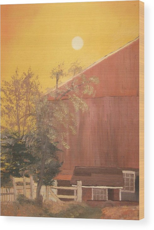 Landscape Wood Print featuring the painting Just Another Farm by L A Raven
