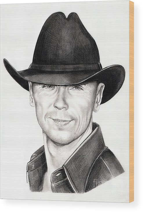 Portrait Wood Print featuring the drawing Kenny Chesney by Murphy Elliott