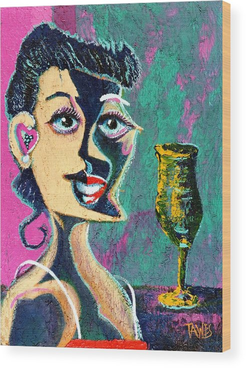 Woman Wood Print featuring the painting Kiss From The Night by Dennis Tawes