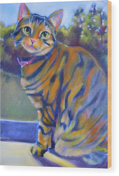 Tabby Cat Wood Print featuring the painting Kitty In The Window by Kaytee Esser