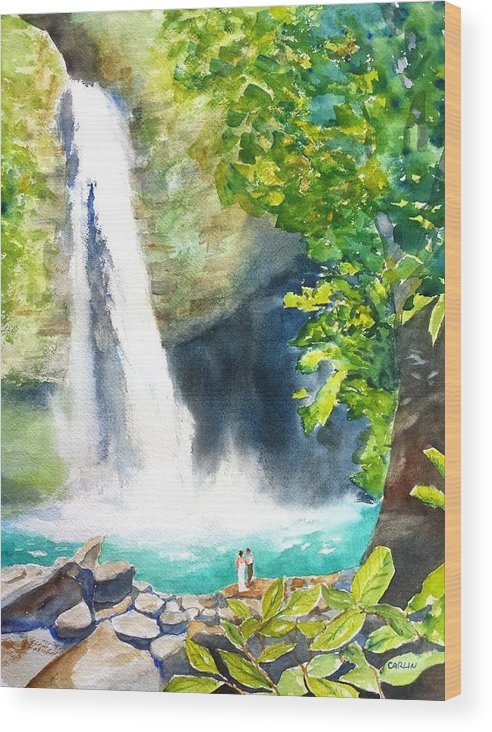 La Fortuna Wood Print featuring the painting La Fortuna Waterfall by Carlin Blahnik CarlinArtWatercolor