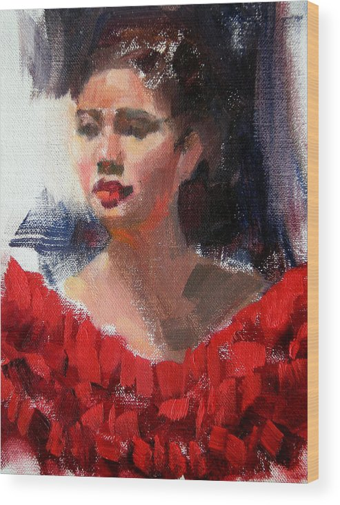 Portrait Wood Print featuring the painting Lady In Red by Merle Keller