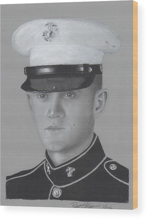 Us Fallen Hero Wood Print featuring the drawing Lcpl Nicholas Anderson by Ray Habyan