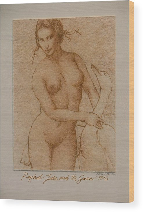 Classic Nude Wood Print featuring the painting Lida And The Swan After Raphael by Gary Kaemmer