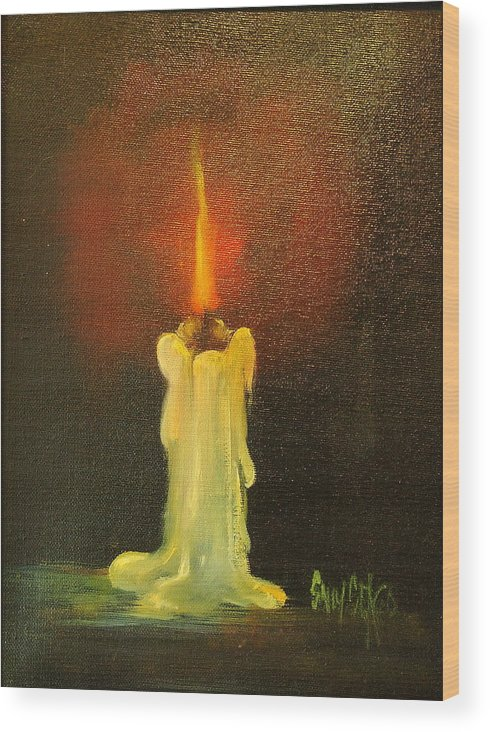 Candles Wood Print featuring the painting Light The Way by Sally Seago
