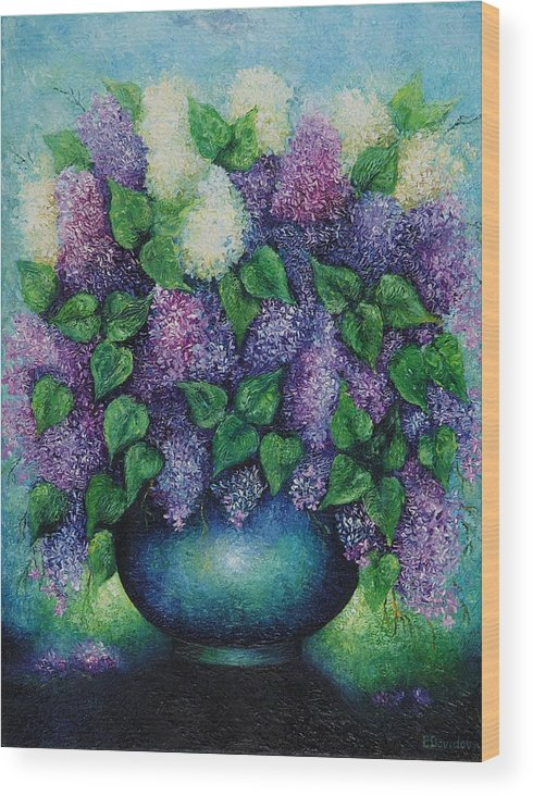 Flowers Wood Print featuring the painting Lilacs No 1. by Evgenia Davidov