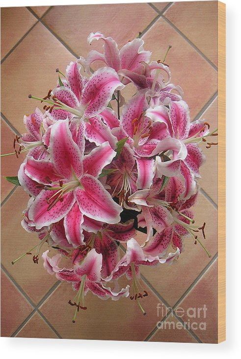 Nature Wood Print featuring the photograph Lilies Gathered On Tile by Lucyna A M Green