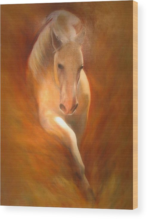 Horse Wood Print featuring the painting Lipizzaner by Elizabeth Silk