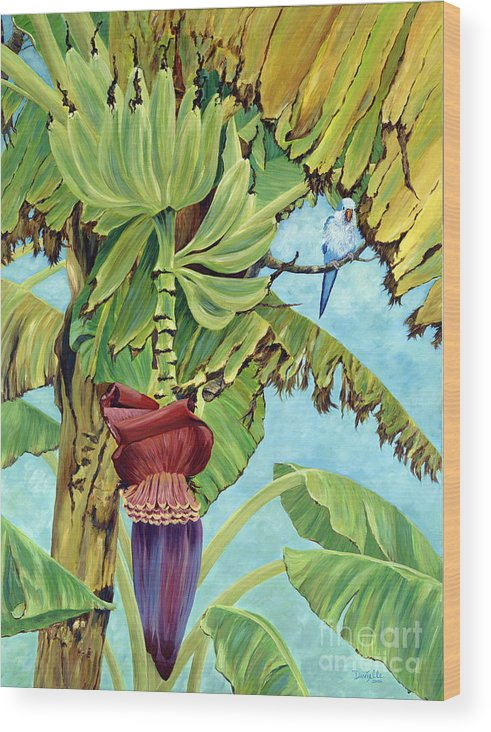 Tropical Wood Print featuring the painting Little Blue Quaker by Danielle Perry