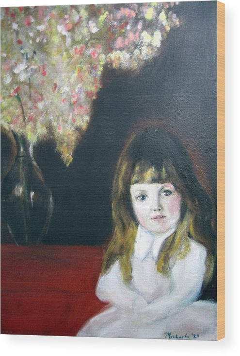 Child Wood Print featuring the painting Little Queen by Michela Akers