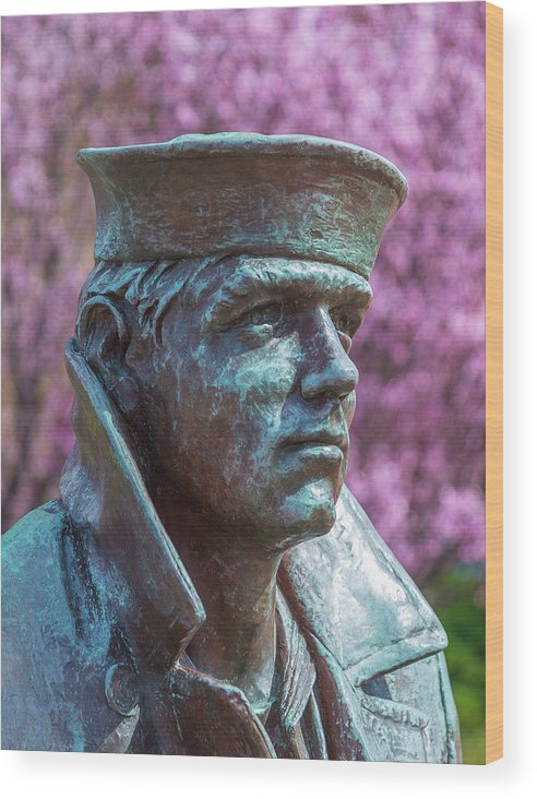 Downtown Norfolk Wood Print featuring the photograph Lone Sailor In Color by Heiko DeWees