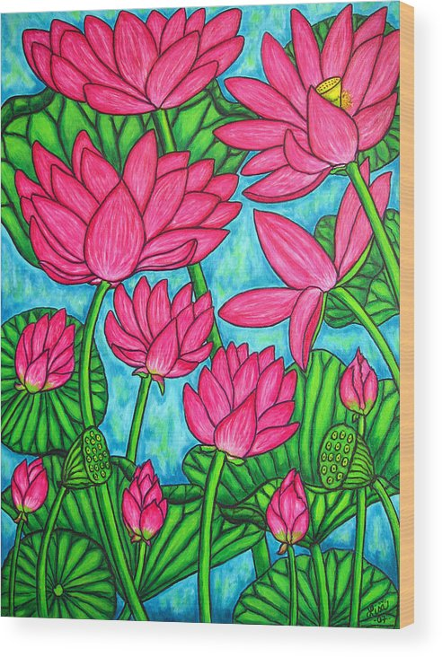 Wood Print featuring the painting Lotus Bliss by Lisa Lorenz