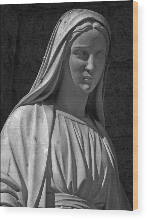 Statue Wood Print featuring the photograph Madonna Of West 96th Street by Robert Ullmann