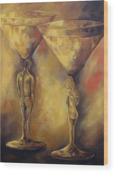 Martini Wood Print featuring the painting Marriage Of The Martinis by Torrie Smiley