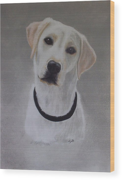 Pet Portrait Wood Print featuring the painting Maxie by Janice M Booth