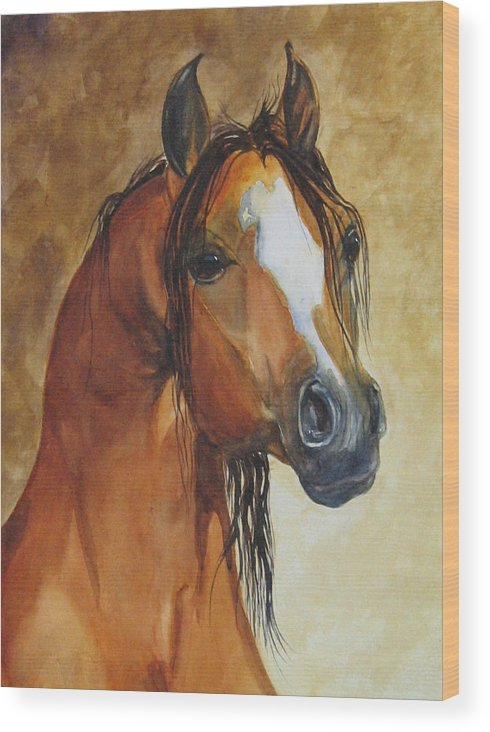 Eqine Wood Print featuring the painting May I Have One Too Please by Gina Hall
