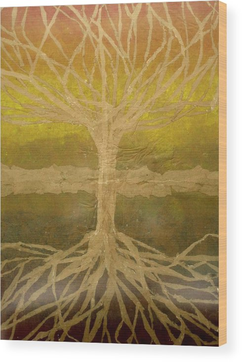 Abstract Wood Print featuring the painting Meditation by Leah Tomaino