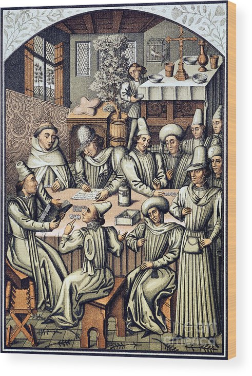 15th Century Wood Print featuring the photograph Merchants Paying Taxes by Granger