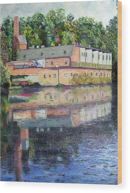 Mill Wood Print featuring the painting Mill Reflections by Richard Nowak