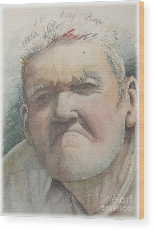 Portrait Wood Print featuring the painting Minnesota Farmer by Nadine Rippelmeyer