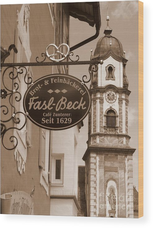 Mittenwald Wood Print featuring the photograph Mittenwald Cafe Sign In Sepia by Carol Groenen