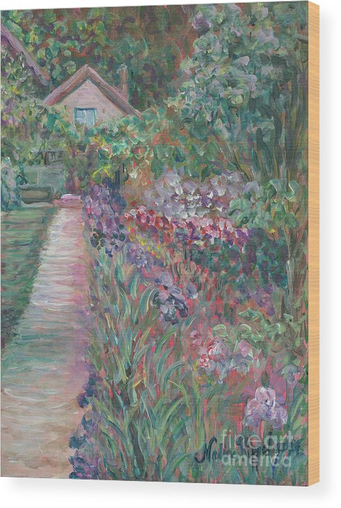 Monet Wood Print featuring the painting Monet's Gardens by Nadine Rippelmeyer