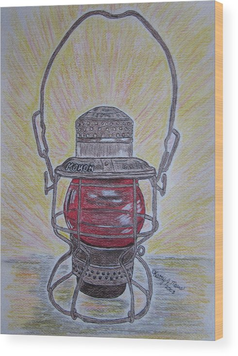 Monon Wood Print featuring the painting Monon Red Globe Railroad Lantern by Kathy Marrs Chandler