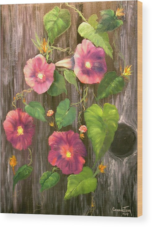 Connie Tom Wood Print featuring the painting Morning Glories by Connie Tom