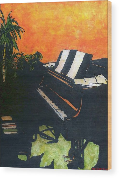 Piano Wood Print featuring the painting Morning Glory by Shane Hurd