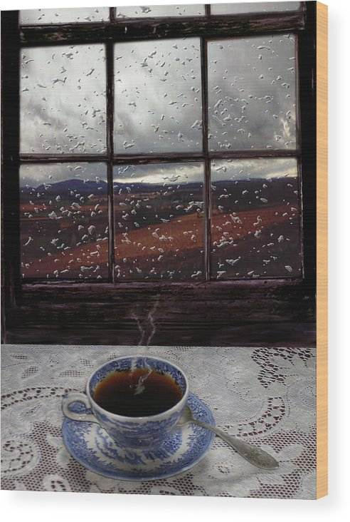 Landscape Wood Print featuring the digital art Mornings Promise by Evelynn Eighmey
