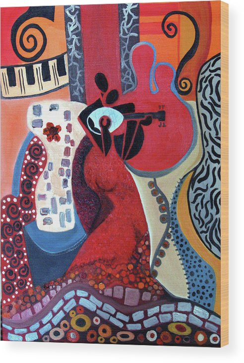 Musical Instruments Figurative Cubist Abstract Wood Print featuring the painting Music Is Love by Niki Sands