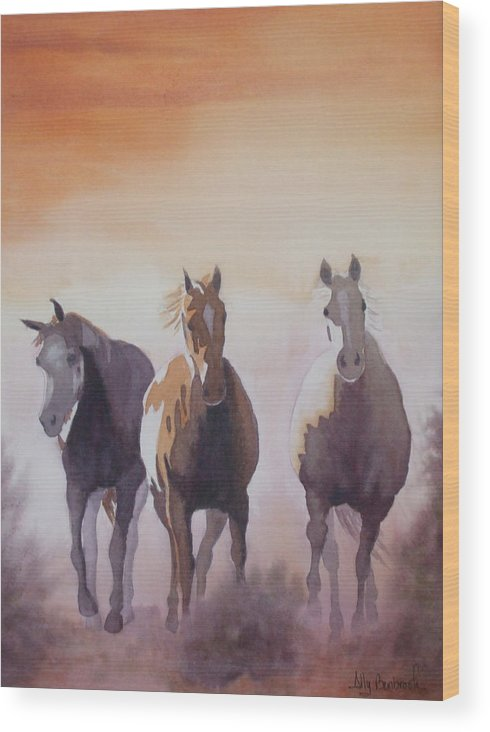 Horse Wood Print featuring the painting Mustangs Out Of The Fire by Ally Benbrook