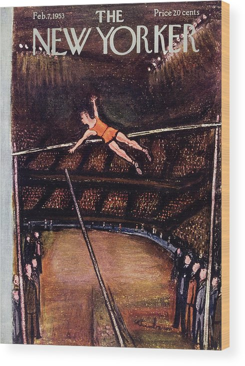 Pole Vault Wood Print featuring the painting New Yorker February 7 1953 by Abe Birnbaum