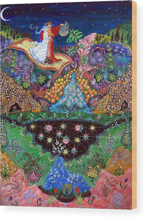 Night Wood Print featuring the painting Night On The Magic Carpet by Caroline Urbania Naeem