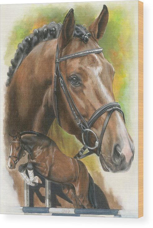 Hunter Jumper Wood Print featuring the mixed media Oldenberg by Barbara Keith