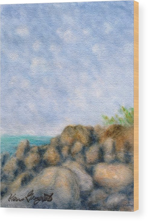 Rainbow Colors Pastel Wood Print featuring the painting On The Rocks by Kenneth Grzesik