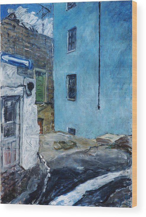 Sardinia House Blue Street Old Wood Print featuring the painting Orgosolo by Joan De Bot