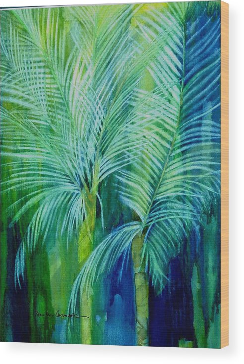 Landscape Wood Print featuring the painting Palm Trees by Maritza Bermudez
