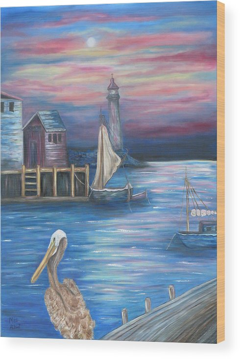 Sunset Wood Print featuring the painting Pelican Port by Mikki Alhart