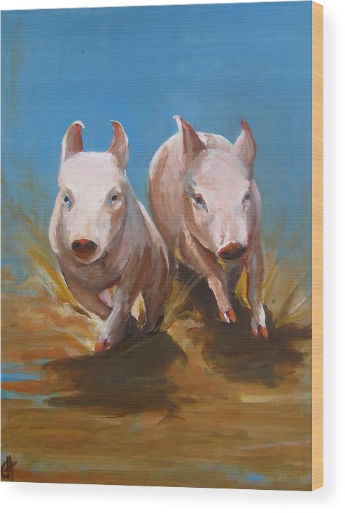 Pig Wood Print featuring the painting Pig Sooie by Cari Humphry