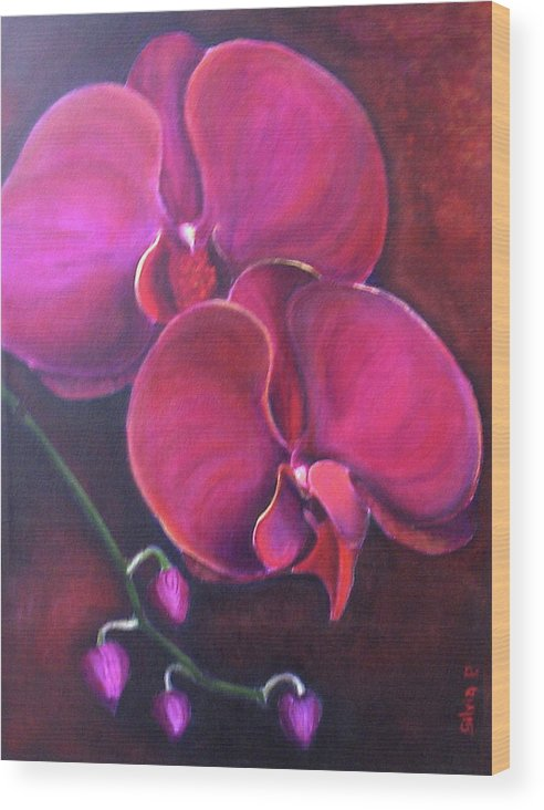 Orchid Wood Print featuring the painting Pink Orchid by Silvia Philippsohn