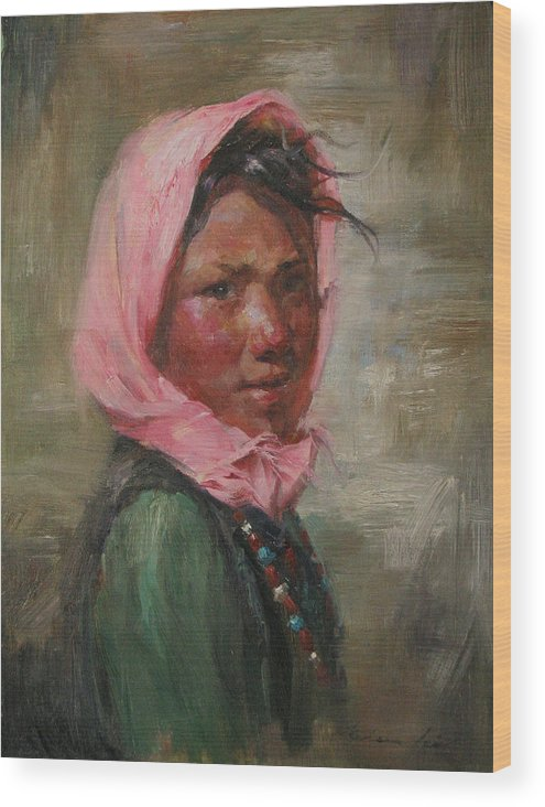 Tibet Wood Print featuring the painting Pink Scarf by Kelvin Lei