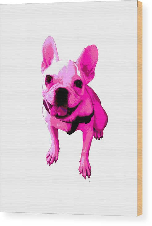 Wood Print featuring the painting Pink Terrier by Linda Swon