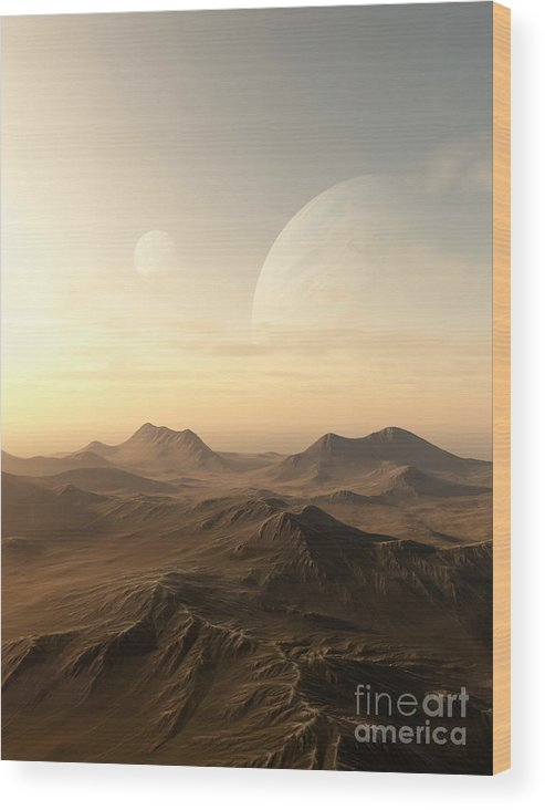 Science Fiction Wood Print featuring the digital art Planet Rise by Fairy Fantasies
