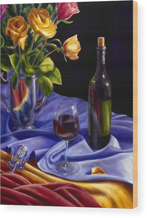Still Life Wood Print featuring the painting Private Label by Shannon Grissom