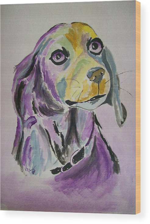 Dog Wood Print featuring the painting Purple Beagle by Leo Gordon