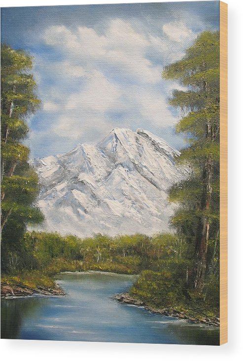 Rocky Wood Print featuring the painting Quiet View by Lisa Cini