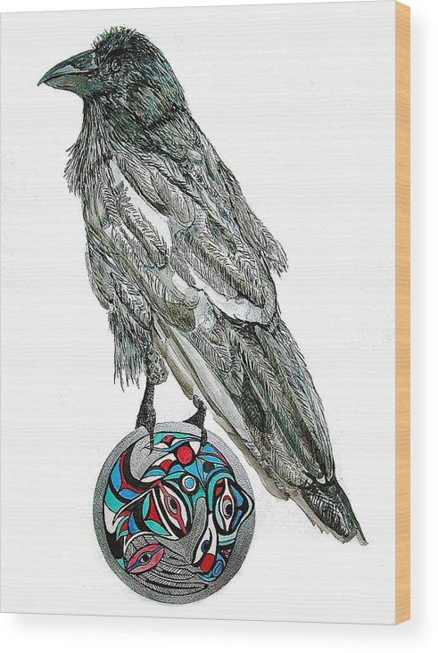 Original Art Wood Print featuring the painting Raven Steals The Sun by K Hoover