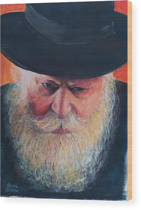 Rebbe Wood Print featuring the painting Rebbe by Sylvia Stone