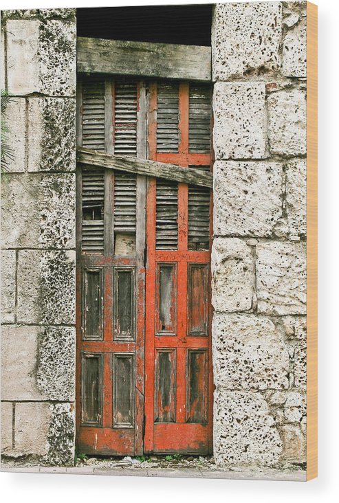 Door Wood Print featuring the photograph Red Door by Douglas Barnett